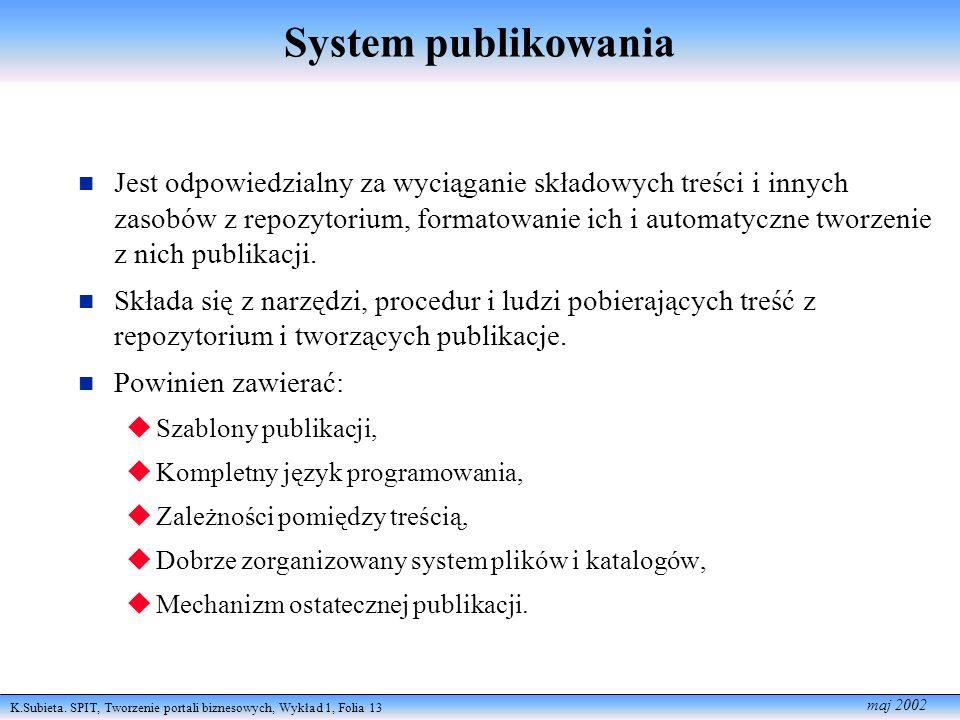 K.Subieta. SPIT, Tworzenie portali biznesowych, Wykład 1, Folia 13 maj 2002 System publikowania Jest odpowiedzialny za wyciąganie składowych treści i