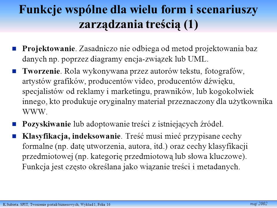 K.Subieta. SPIT, Tworzenie portali biznesowych, Wykład 1, Folia 16 maj 2002 Funkcje wspólne dla wielu form i scenariuszy zarządzania treścią (1) Proje