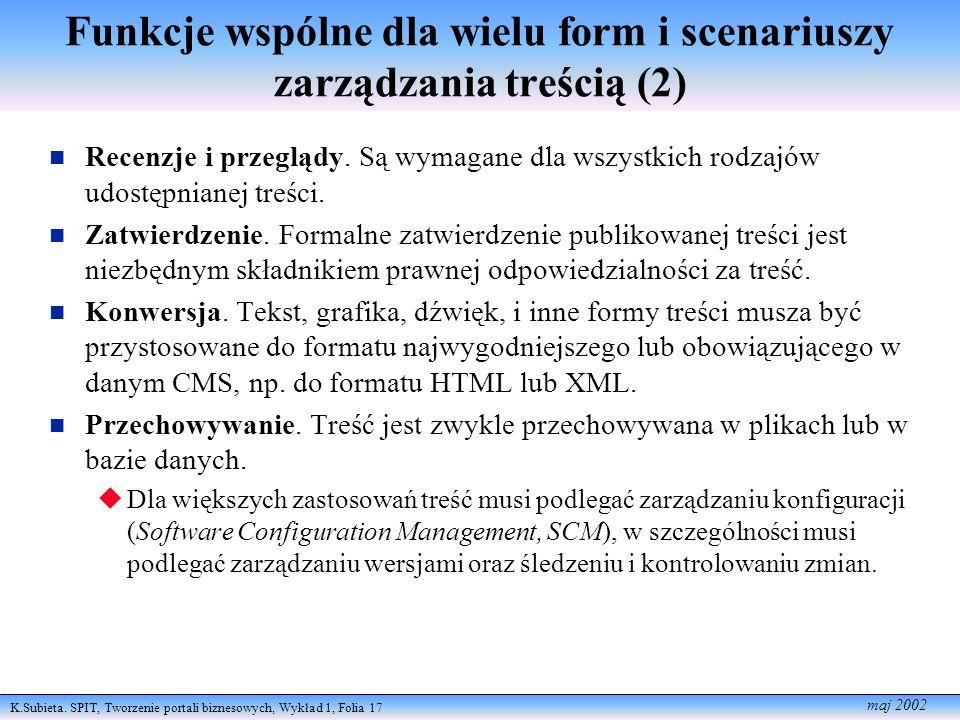 K.Subieta. SPIT, Tworzenie portali biznesowych, Wykład 1, Folia 17 maj 2002 Funkcje wspólne dla wielu form i scenariuszy zarządzania treścią (2) Recen