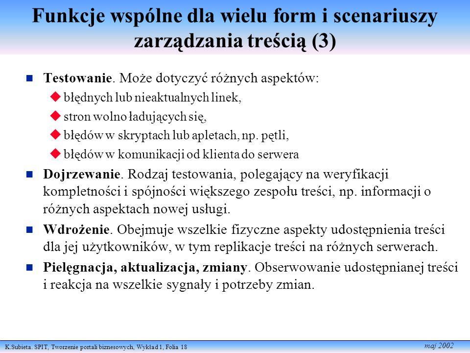 K.Subieta. SPIT, Tworzenie portali biznesowych, Wykład 1, Folia 18 maj 2002 Funkcje wspólne dla wielu form i scenariuszy zarządzania treścią (3) Testo