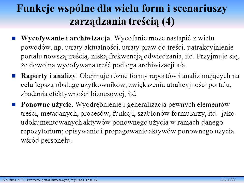 K.Subieta. SPIT, Tworzenie portali biznesowych, Wykład 1, Folia 19 maj 2002 Funkcje wspólne dla wielu form i scenariuszy zarządzania treścią (4) Wycof