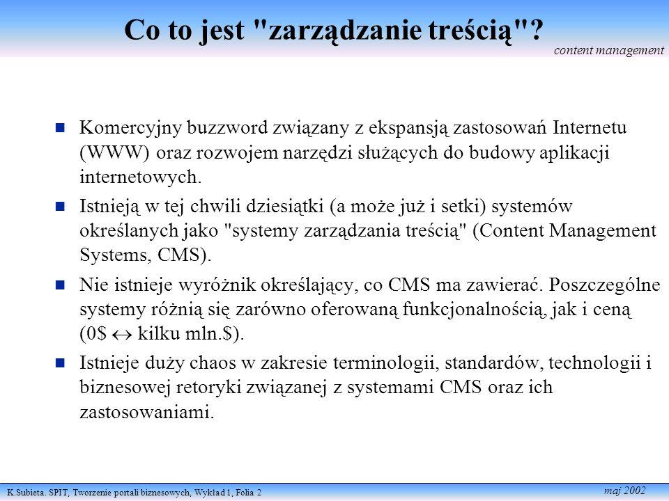 K.Subieta. SPIT, Tworzenie portali biznesowych, Wykład 1, Folia 2 maj 2002 Co to jest