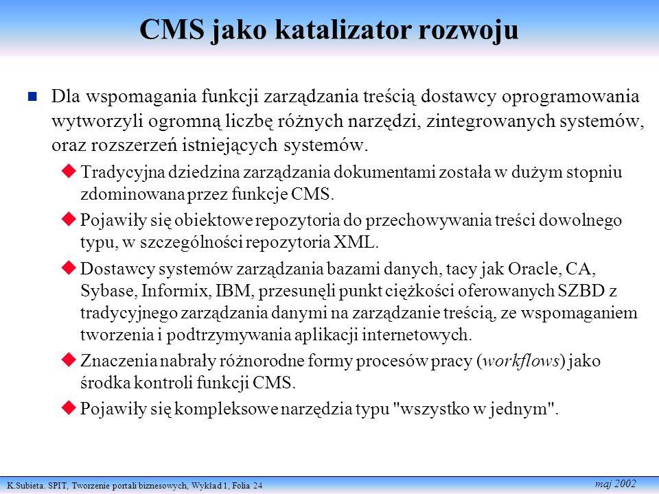 K.Subieta. SPIT, Tworzenie portali biznesowych, Wykład 1, Folia 24 maj 2002 CMS jako katalizator rozwoju Dla wspomagania funkcji zarządzania treścią d