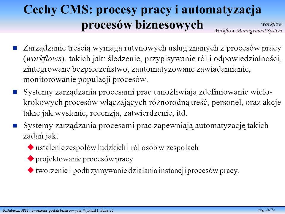 K.Subieta. SPIT, Tworzenie portali biznesowych, Wykład 1, Folia 25 maj 2002 Cechy CMS: procesy pracy i automatyzacja procesów biznesowych Zarządzanie