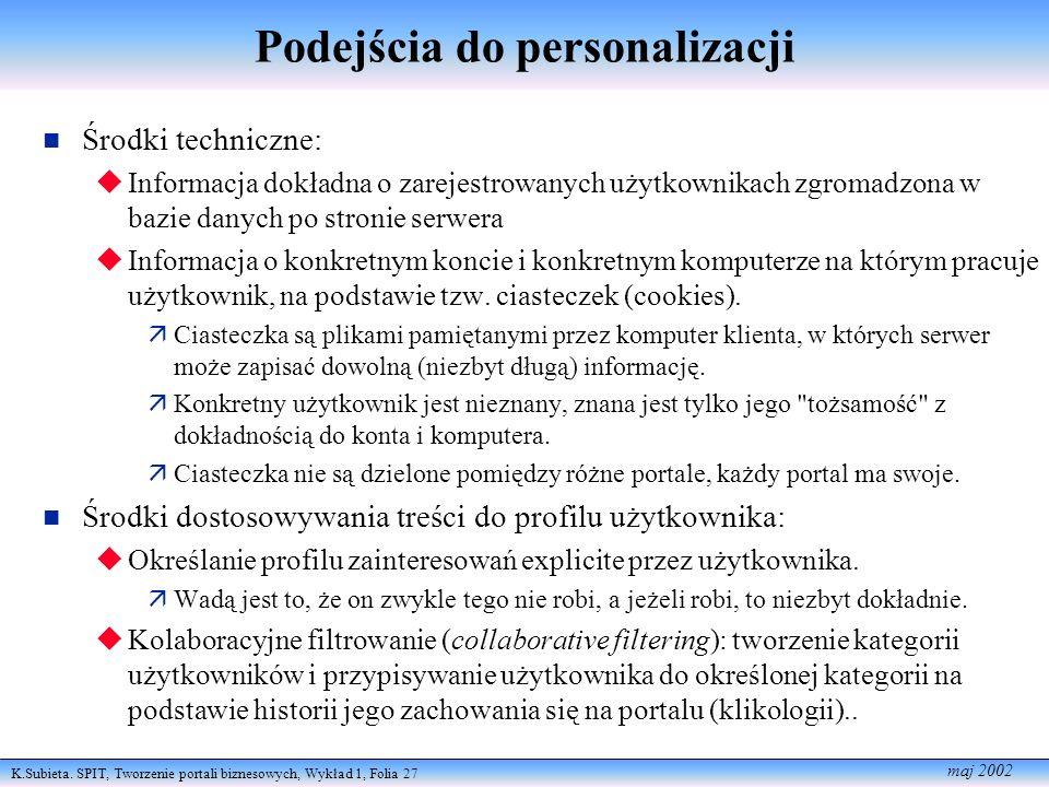 K.Subieta. SPIT, Tworzenie portali biznesowych, Wykład 1, Folia 27 maj 2002 Podejścia do personalizacji Środki techniczne: Informacja dokładna o zarej