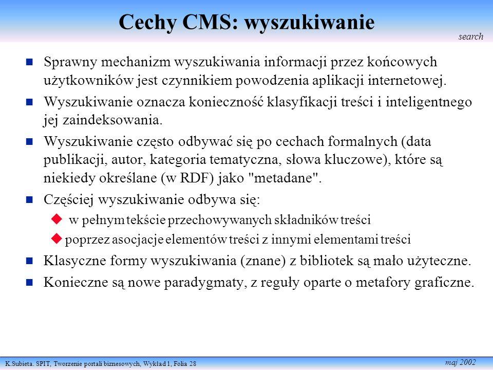 K.Subieta. SPIT, Tworzenie portali biznesowych, Wykład 1, Folia 28 maj 2002 Cechy CMS: wyszukiwanie Sprawny mechanizm wyszukiwania informacji przez ko