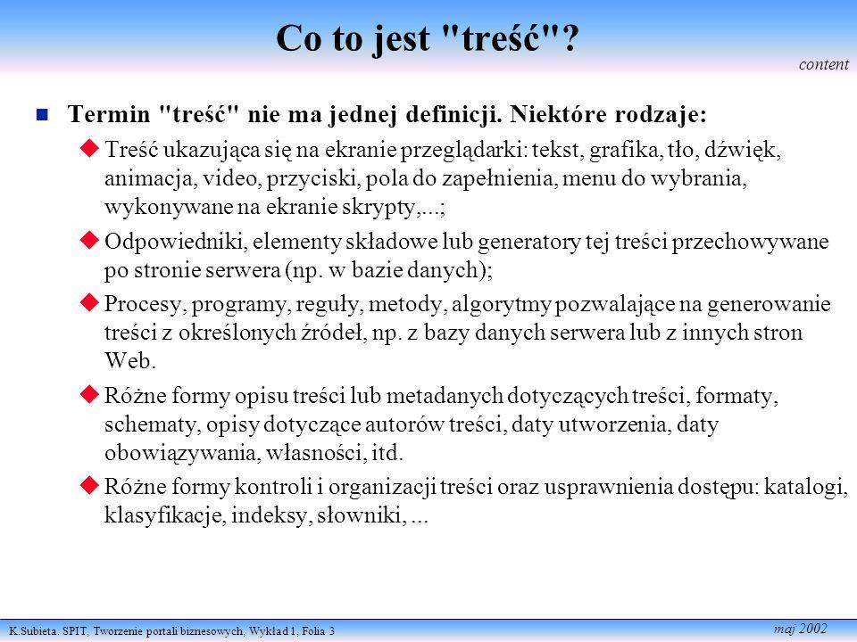 K.Subieta.SPIT, Tworzenie portali biznesowych, Wykład 1, Folia 4 maj 2002 Treść vs.