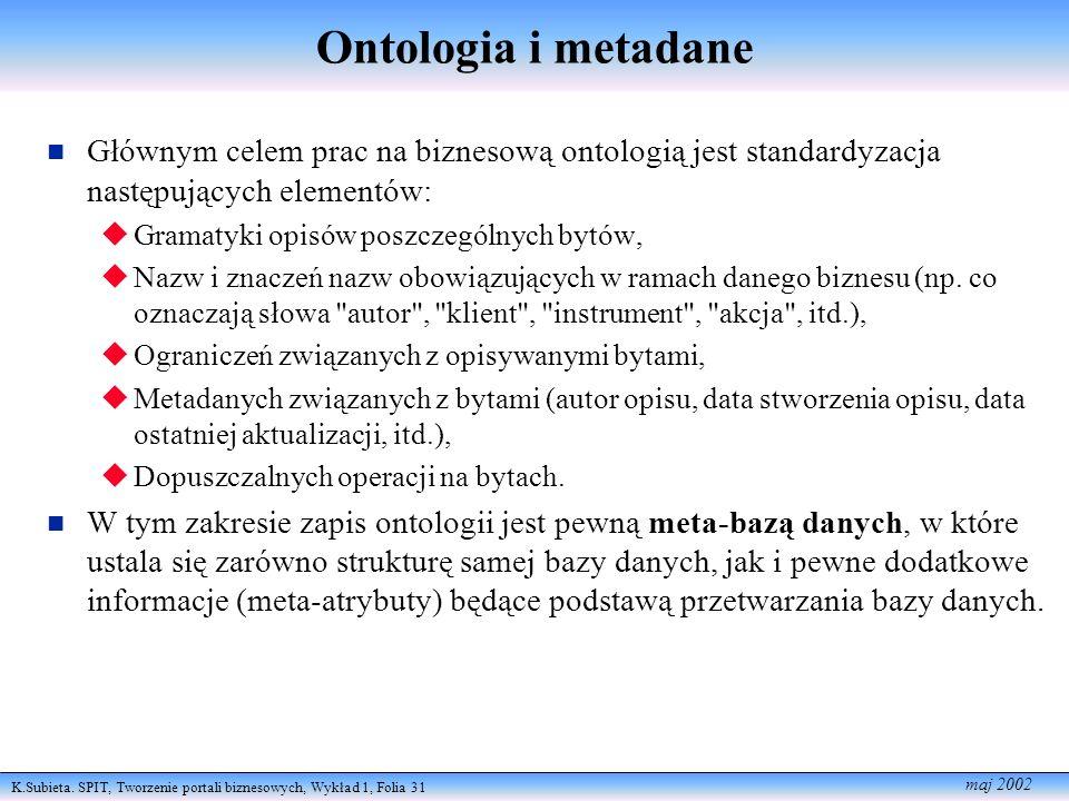 K.Subieta. SPIT, Tworzenie portali biznesowych, Wykład 1, Folia 31 maj 2002 Ontologia i metadane Głównym celem prac na biznesową ontologią jest standa