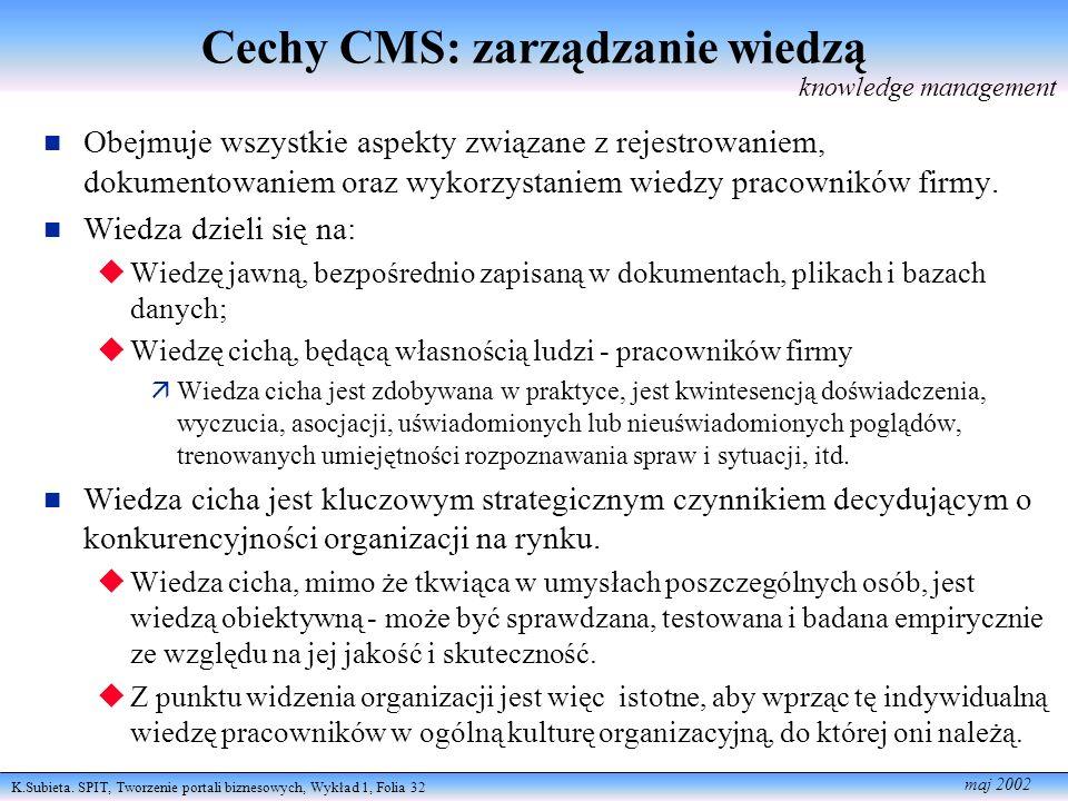 K.Subieta. SPIT, Tworzenie portali biznesowych, Wykład 1, Folia 32 maj 2002 Cechy CMS: zarządzanie wiedzą Obejmuje wszystkie aspekty związane z rejest