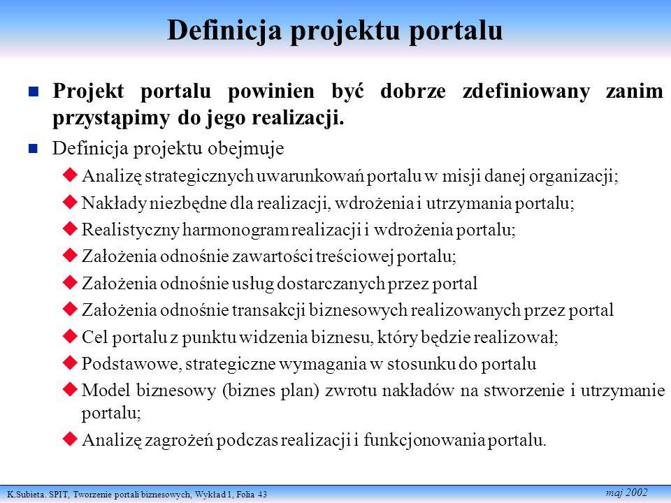 K.Subieta. SPIT, Tworzenie portali biznesowych, Wykład 1, Folia 43 maj 2002 Definicja projektu portalu n Projekt portalu powinien być dobrze zdefiniow