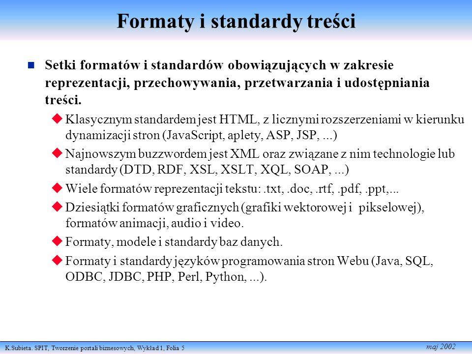 K.Subieta. SPIT, Tworzenie portali biznesowych, Wykład 1, Folia 5 maj 2002 Formaty i standardy treści Setki formatów i standardów obowiązujących w zak