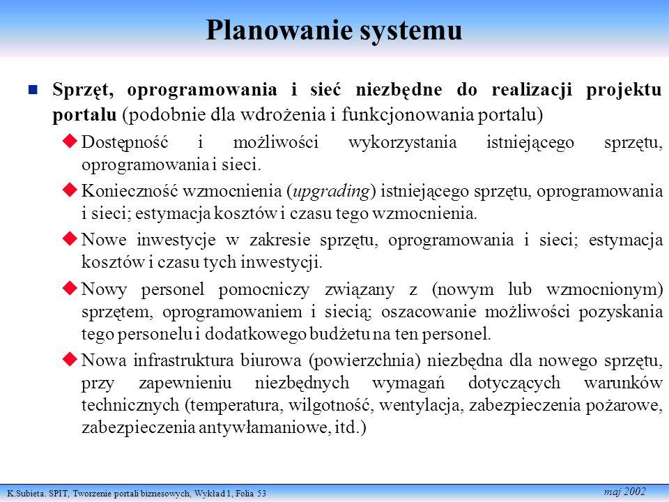 K.Subieta. SPIT, Tworzenie portali biznesowych, Wykład 1, Folia 53 maj 2002 Planowanie systemu Sprzęt, oprogramowania i sieć niezbędne do realizacji p