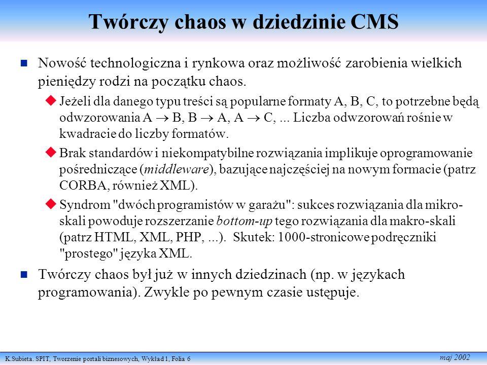 K.Subieta. SPIT, Tworzenie portali biznesowych, Wykład 1, Folia 6 maj 2002 Twórczy chaos w dziedzinie CMS Nowość technologiczna i rynkowa oraz możliwo