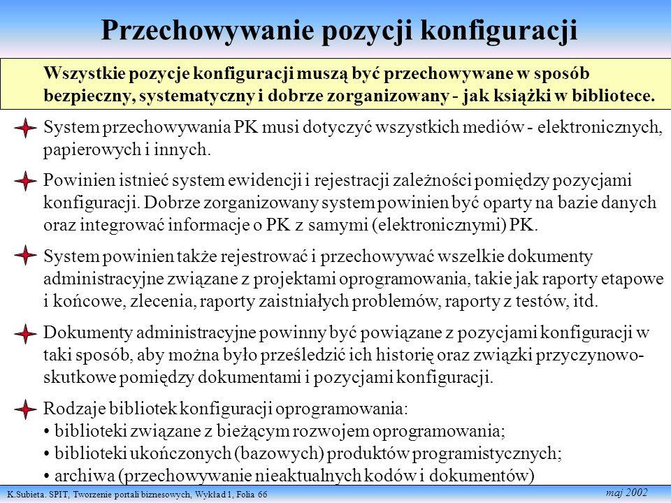 K.Subieta. SPIT, Tworzenie portali biznesowych, Wykład 1, Folia 66 maj 2002 Przechowywanie pozycji konfiguracji Wszystkie pozycje konfiguracji muszą b