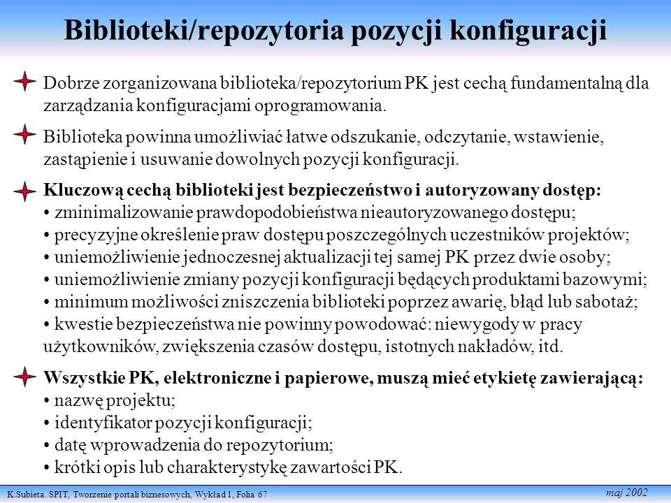 K.Subieta. SPIT, Tworzenie portali biznesowych, Wykład 1, Folia 67 maj 2002 Biblioteki/repozytoria pozycji konfiguracji Dobrze zorganizowana bibliotek