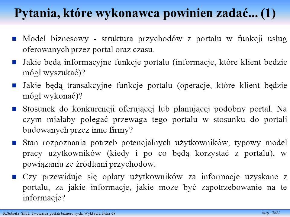 K.Subieta. SPIT, Tworzenie portali biznesowych, Wykład 1, Folia 69 maj 2002 Pytania, które wykonawca powinien zadać... (1) Model biznesowy - struktura