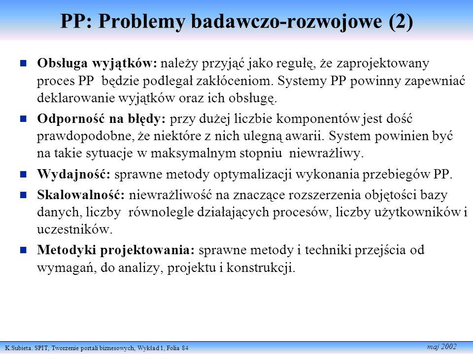 K.Subieta. SPIT, Tworzenie portali biznesowych, Wykład 1, Folia 84 maj 2002 PP: Problemy badawczo-rozwojowe (2) Obsługa wyjątków: należy przyjąć jako