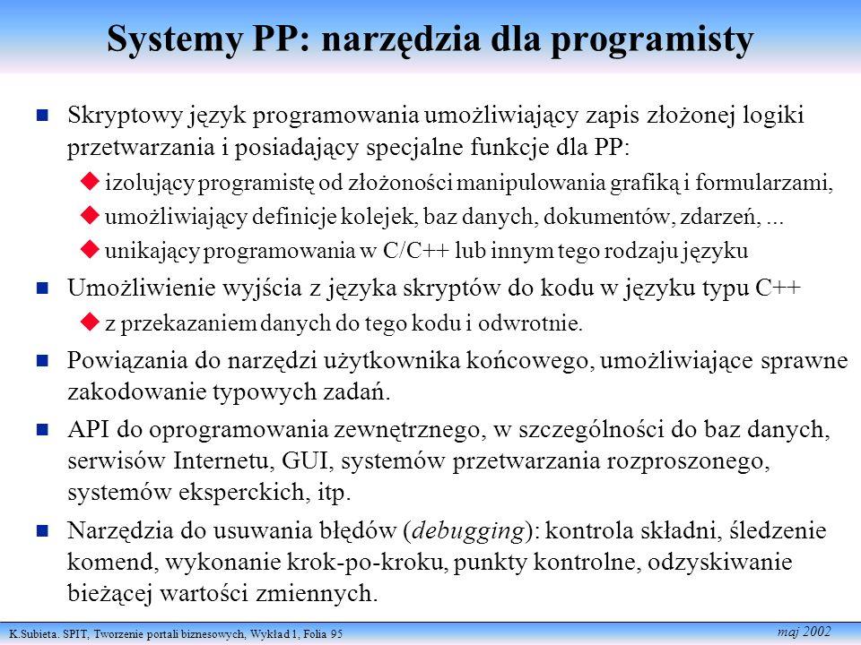 K.Subieta. SPIT, Tworzenie portali biznesowych, Wykład 1, Folia 95 maj 2002 Systemy PP: narzędzia dla programisty Skryptowy język programowania umożli