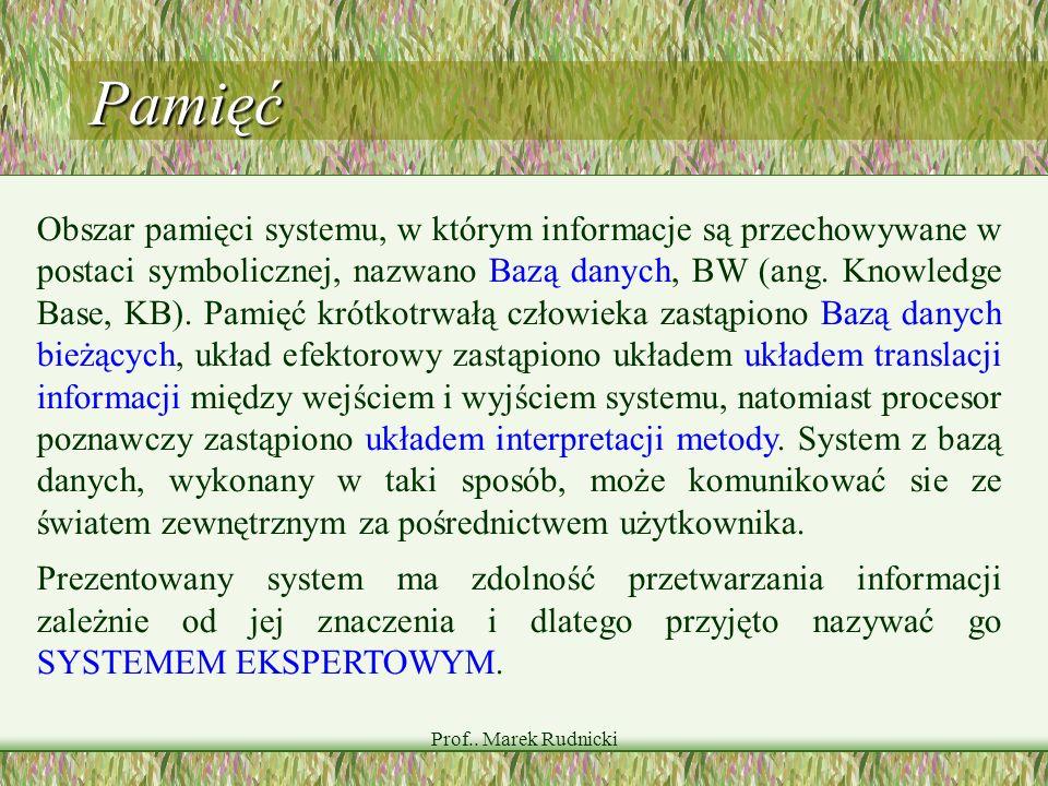 Prof.. Marek Rudnicki Pamięć Obszar pamięci systemu, w którym informacje są przechowywane w postaci symbolicznej, nazwano Bazą danych, BW (ang. Knowle