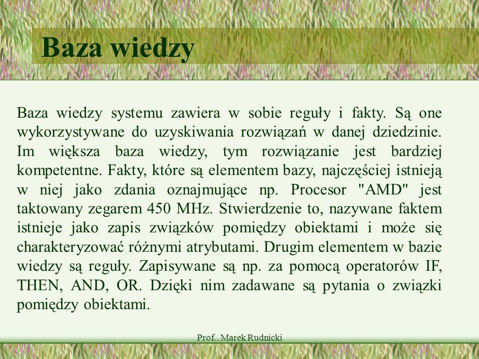 Prof.. Marek Rudnicki Baza wiedzy Baza wiedzy systemu zawiera w sobie reguły i fakty. Są one wykorzystywane do uzyskiwania rozwiązań w danej dziedzini
