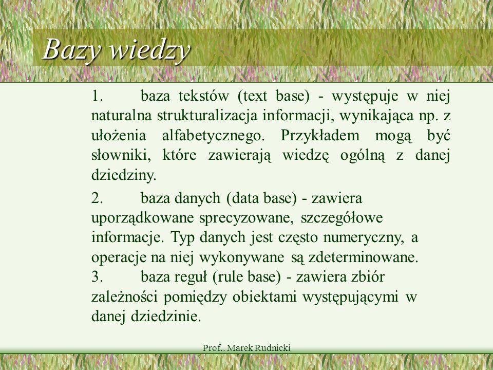 Prof.. Marek Rudnicki Bazy wiedzy 1.baza tekstów (text base) - występuje w niej naturalna strukturalizacja informacji, wynikająca np. z ułożenia alfab