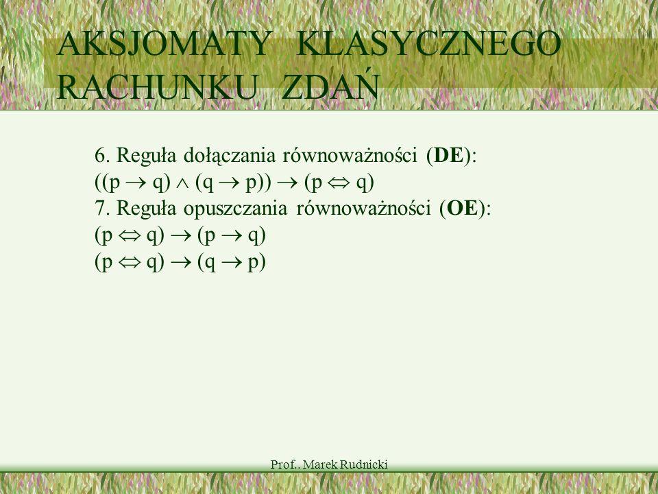 Prof.. Marek Rudnicki AKSJOMATY KLASYCZNEGO RACHUNKU ZDAŃ 6. Reguła dołączania równoważności (DE): ((p q) (q p)) (p q) 7. Reguła opuszczania równoważn