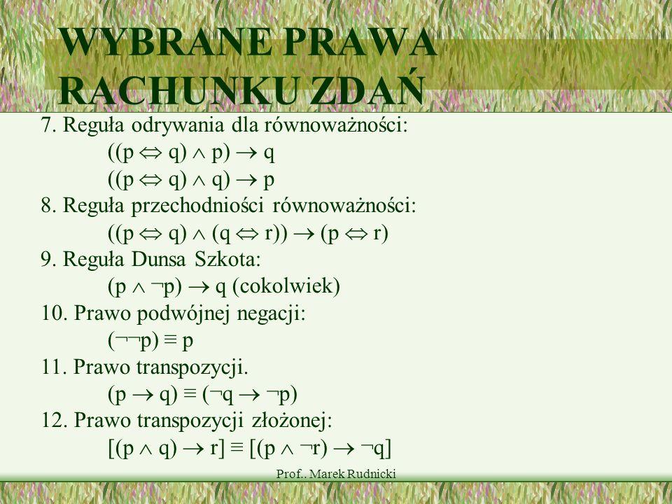 Prof.. Marek Rudnicki WYBRANE PRAWA RACHUNKU ZDAŃ 7. Reguła odrywania dla równoważności: ((p q) p) q ((p q) q) p 8. Reguła przechodniości równoważnośc