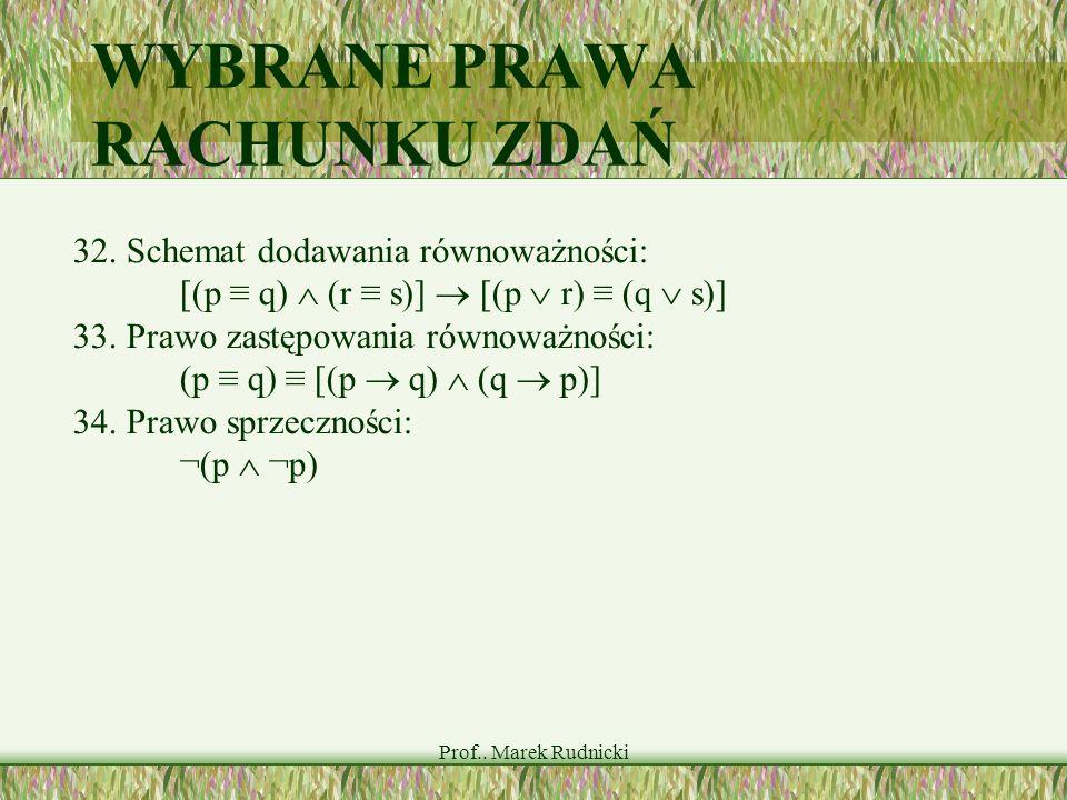 Prof.. Marek Rudnicki WYBRANE PRAWA RACHUNKU ZDAŃ 32. Schemat dodawania równoważności: [(p q) (r s)] [(p r) (q s)] 33. Prawo zastępowania równoważnośc