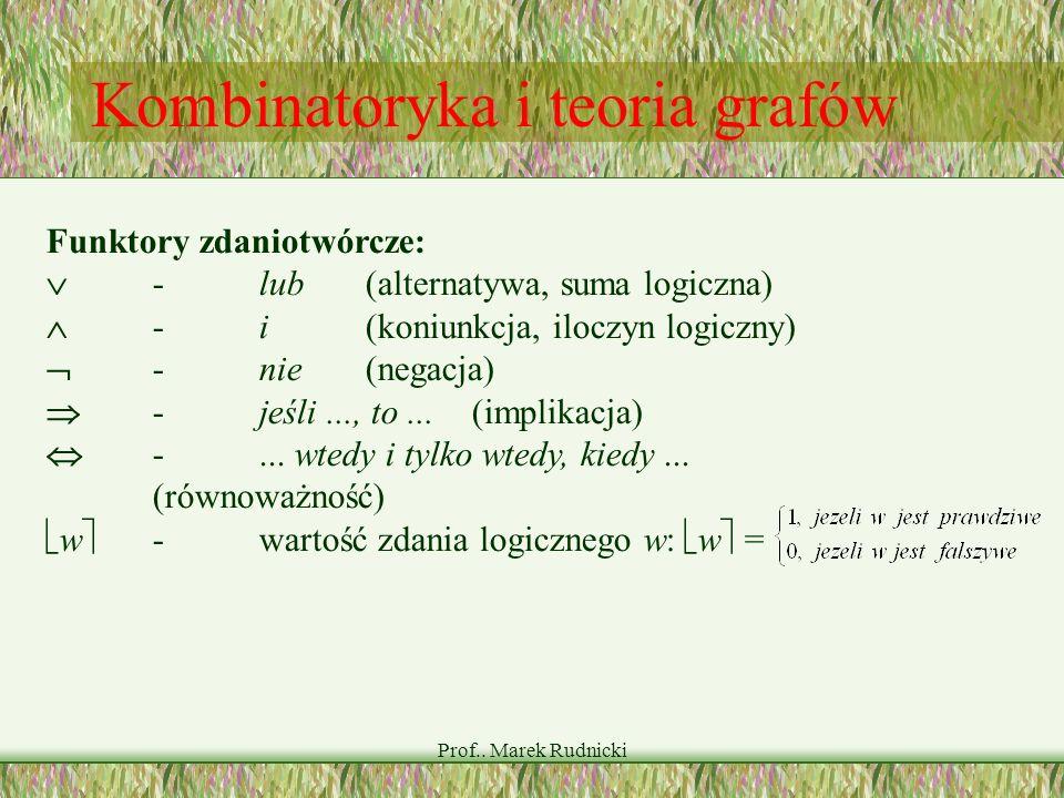 Prof.. Marek Rudnicki Kombinatoryka i teoria grafów Funktory zdaniotwórcze: -lub(alternatywa, suma logiczna) -i(koniunkcja, iloczyn logiczny) -nie(neg