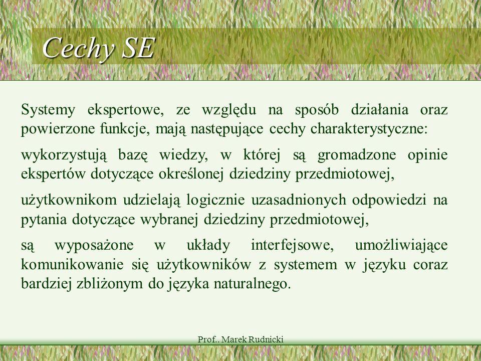 Prof.. Marek Rudnicki Cechy SE Systemy ekspertowe, ze względu na sposób działania oraz powierzone funkcje, mają następujące cechy charakterystyczne: w