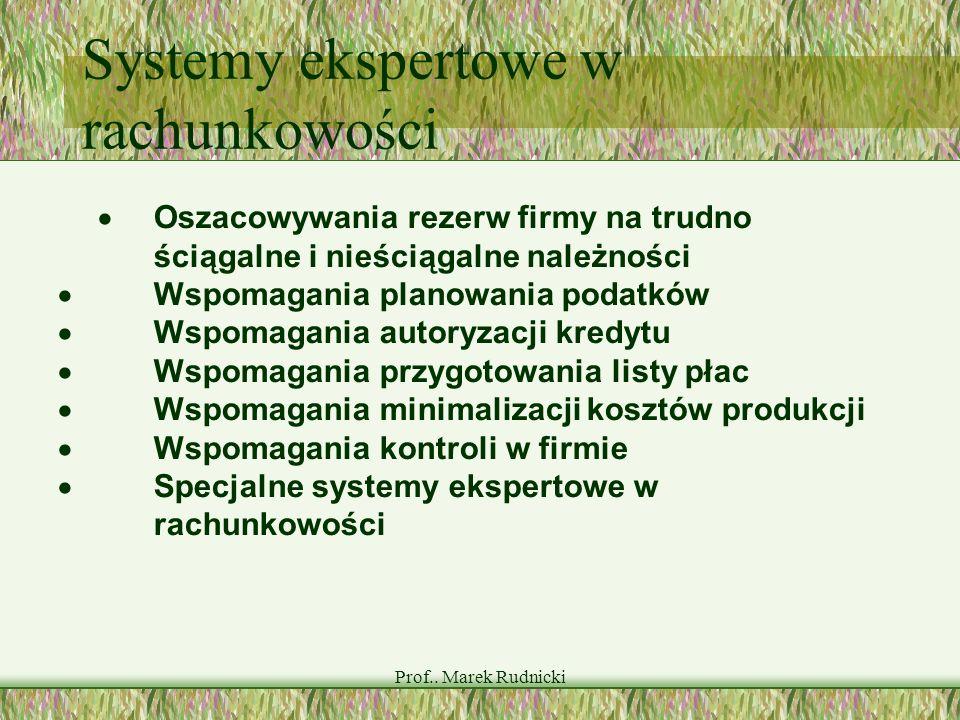 Prof.. Marek Rudnicki Systemy ekspertowe w rachunkowości Oszacowywania rezerw firmy na trudno ściągalne i nieściągalne należności Wspomagania planowan