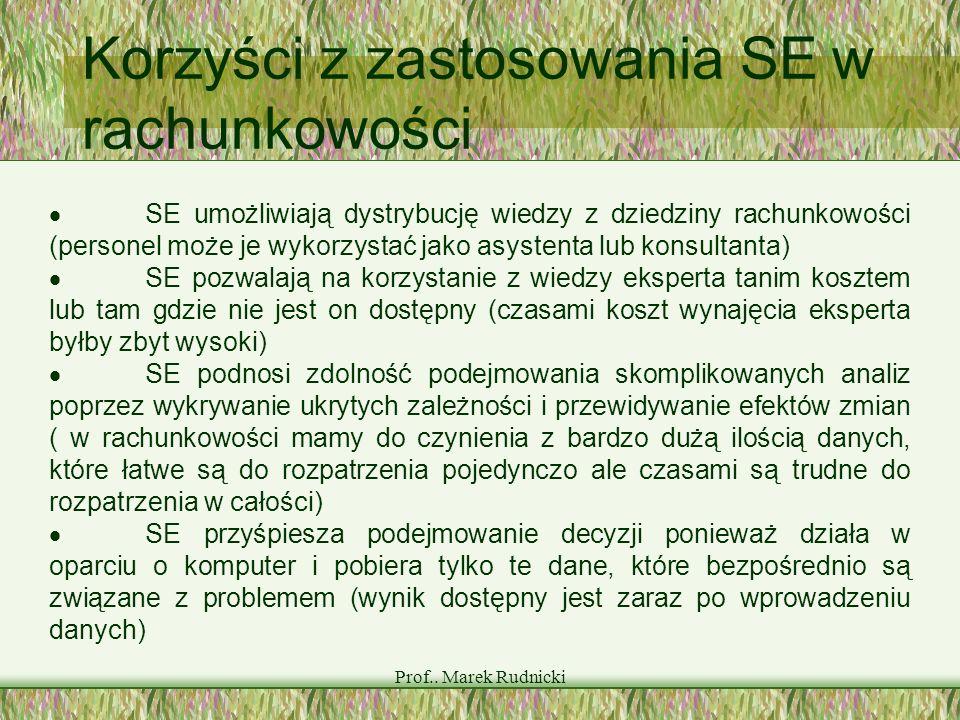 Prof.. Marek Rudnicki Korzyści z zastosowania SE w rachunkowości SE umożliwiają dystrybucję wiedzy z dziedziny rachunkowości (personel może je wykorzy