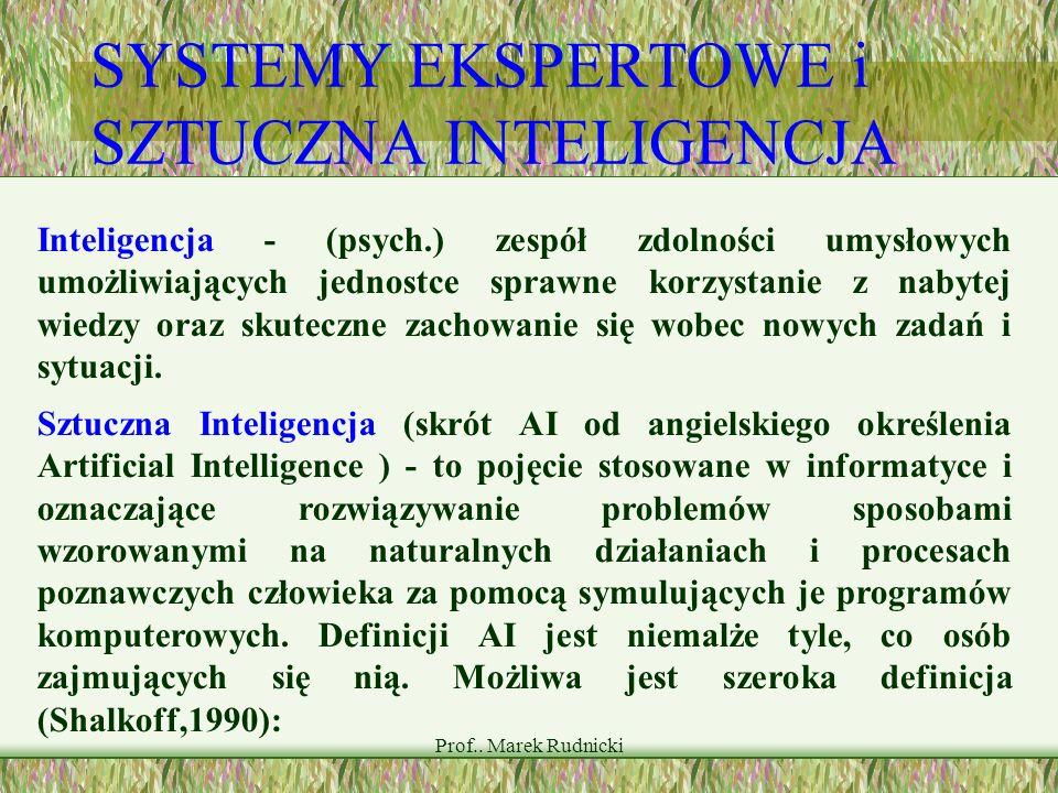 Prof.. Marek Rudnicki SYSTEMY EKSPERTOWE i SZTUCZNA INTELIGENCJA Inteligencja - (psych.) zespół zdolności umysłowych umożliwiających jednostce sprawne