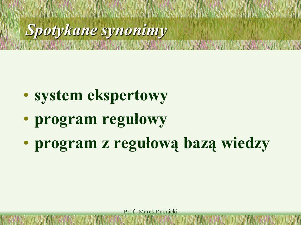 Prof.. Marek Rudnicki Spotykane synonimy system ekspertowy program regułowy program z regułową bazą wiedzy
