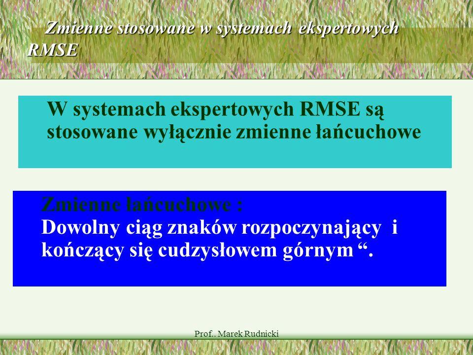 Prof.. Marek Rudnicki Zmienne stosowane w systemach ekspertowych RMSE Zmienne stosowane w systemach ekspertowych RMSE Zmienne łańcuchowe : Dowolny cią