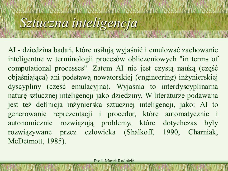 Prof.. Marek Rudnicki Sztuczna inteligencja AI - dziedzina badań, które usiłują wyjaśnić i emulować zachowanie inteligentne w terminologii procesów ob