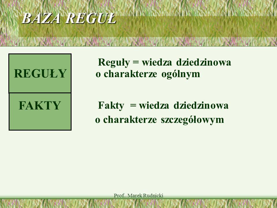 Prof.. Marek Rudnicki BAZA REGUŁ Reguły = wiedza dziedzinowa o charakterze ogólnym FAKTY REGUŁY Fakty = wiedza dziedzinowa o charakterze szczegółowym