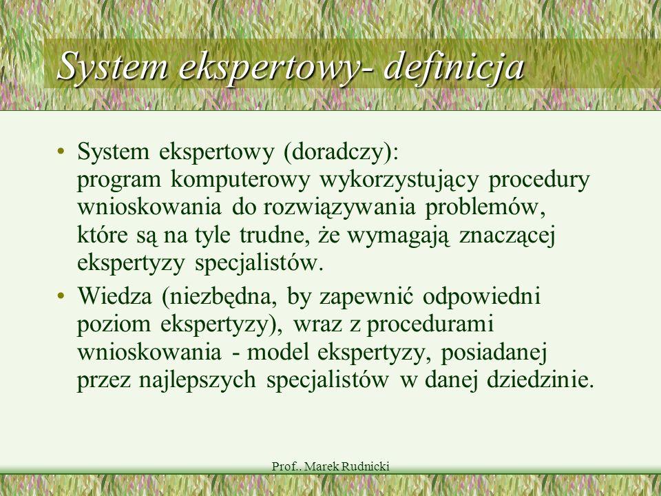 Prof.. Marek Rudnicki System ekspertowy- definicja System ekspertowy (doradczy): program komputerowy wykorzystujący procedury wnioskowania do rozwiązy