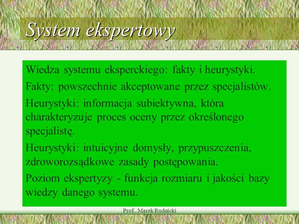 Prof.. Marek Rudnicki System ekspertowy Wiedza systemu eksperckiego: fakty i heurystyki. Fakty: powszechnie akceptowane przez specjalistów. Heurystyki