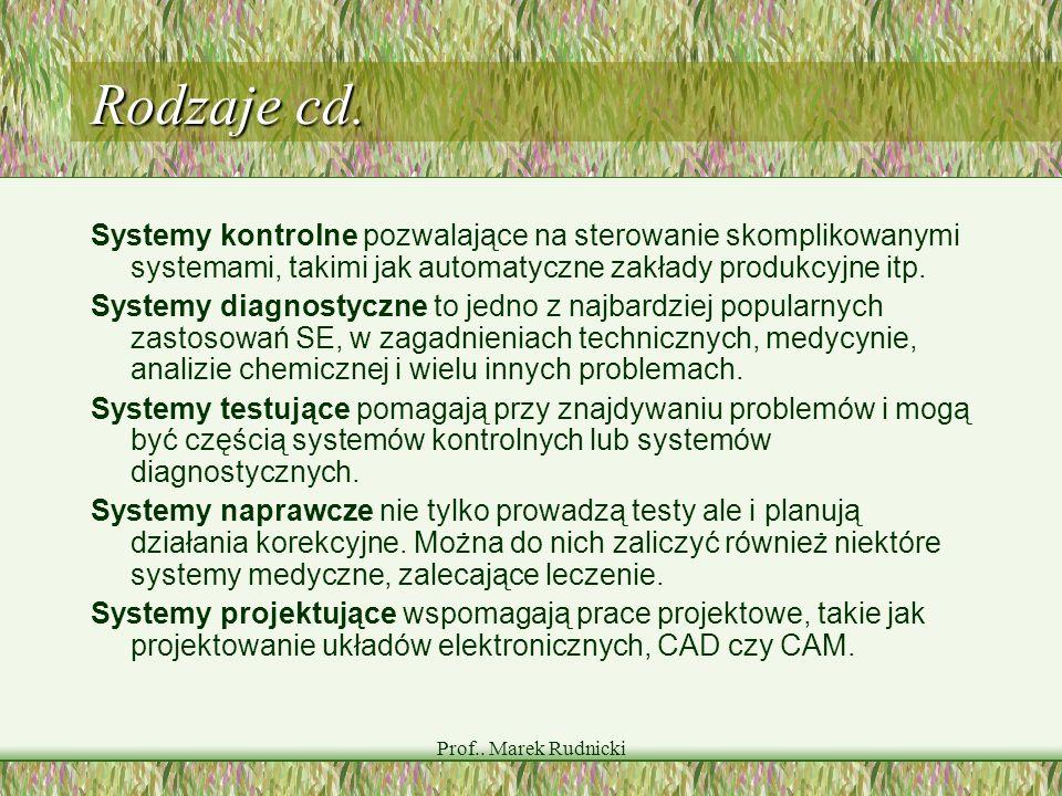 Prof.. Marek Rudnicki Rodzaje cd. Systemy kontrolne pozwalające na sterowanie skomplikowanymi systemami, takimi jak automatyczne zakłady produkcyjne i