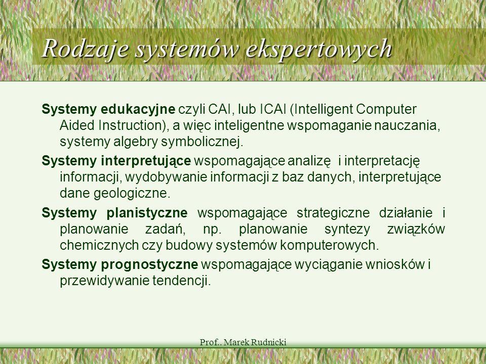 Prof.. Marek Rudnicki Rodzaje systemów ekspertowych Systemy edukacyjne czyli CAI, lub ICAI (Intelligent Computer Aided Instruction), a więc inteligent