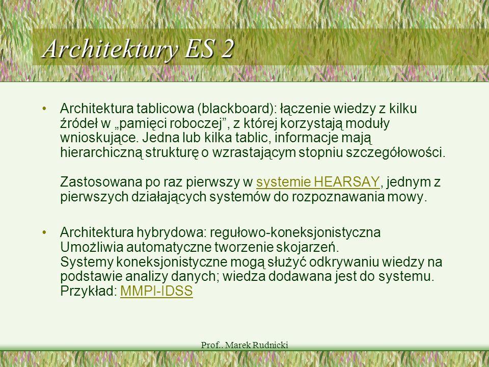 Prof.. Marek Rudnicki Architektury ES 2 Architektura tablicowa (blackboard): łączenie wiedzy z kilku źródeł w pamięci roboczej, z której korzystają mo