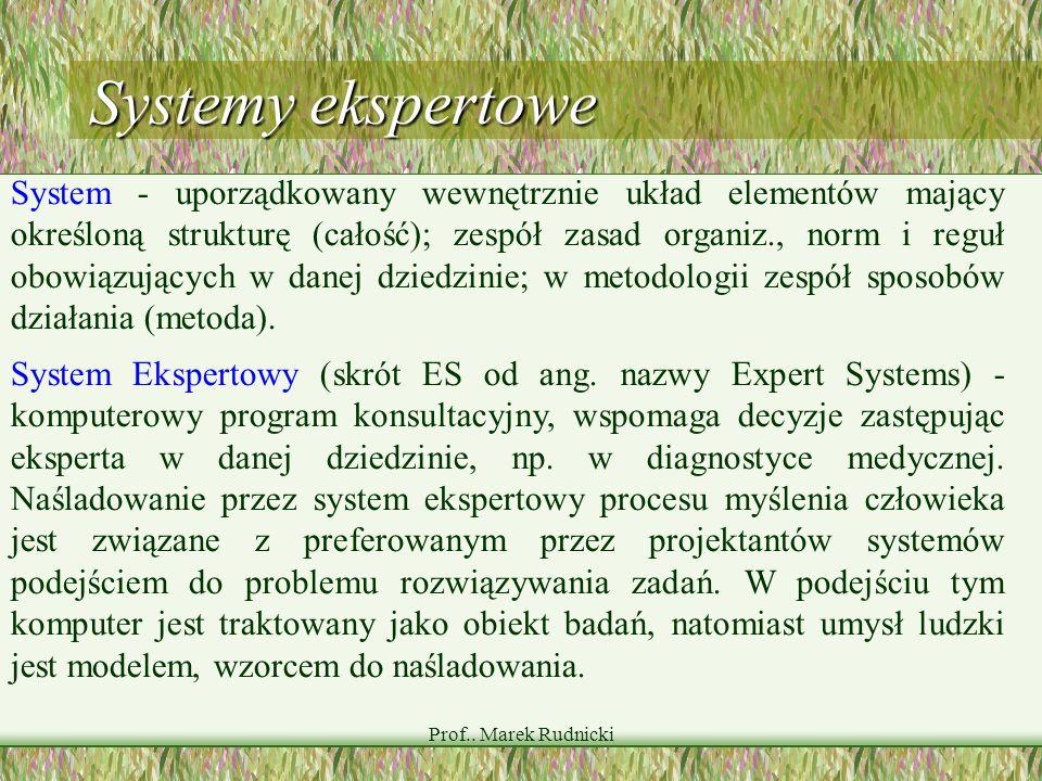 Prof.. Marek Rudnicki Systemy ekspertowe System - uporządkowany wewnętrznie układ elementów mający określoną strukturę (całość); zespół zasad organiz.