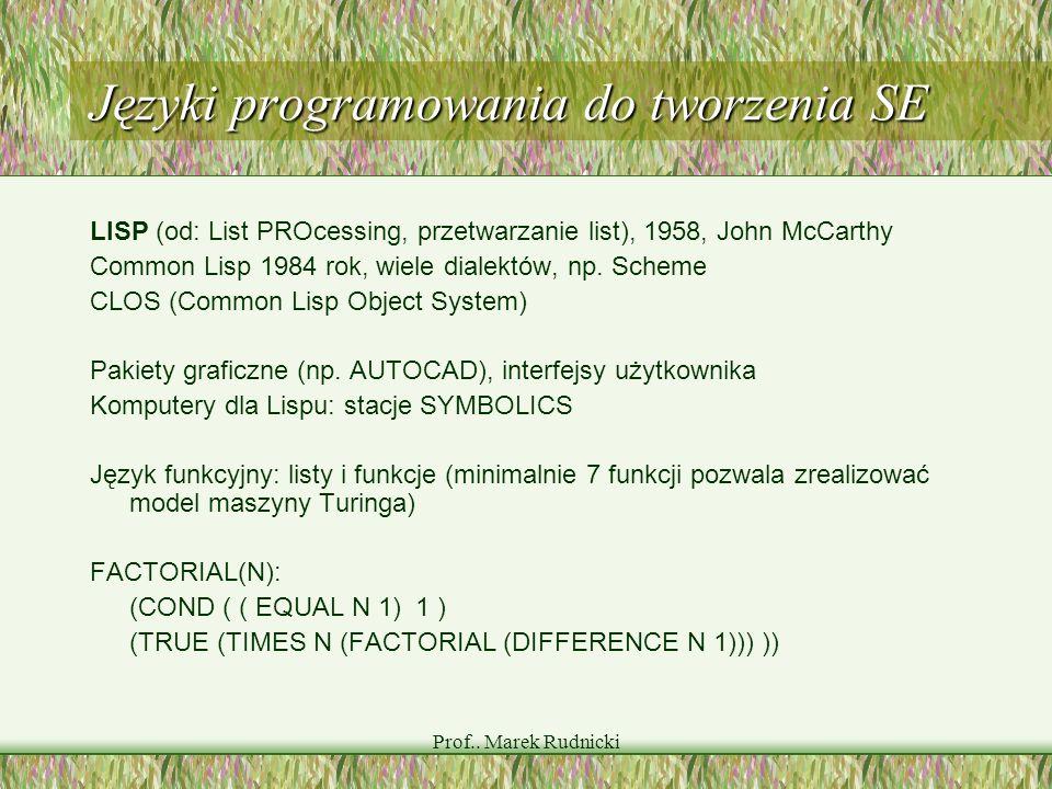 Prof.. Marek Rudnicki Języki programowania do tworzenia SE LISP (od: List PROcessing, przetwarzanie list), 1958, John McCarthy Common Lisp 1984 rok, w