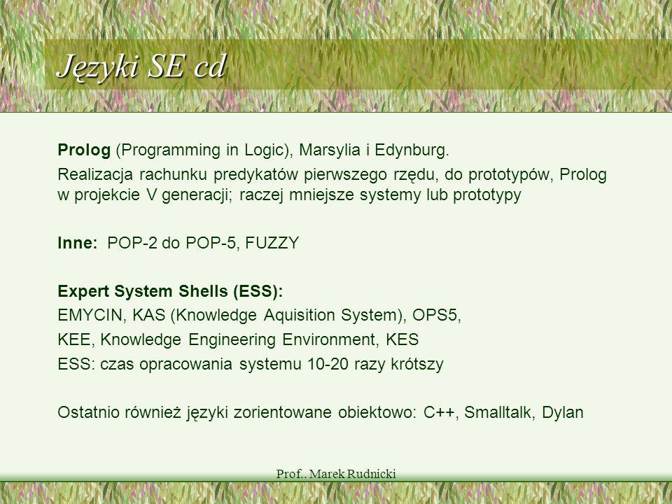 Prof.. Marek Rudnicki Języki SE cd Prolog (Programming in Logic), Marsylia i Edynburg. Realizacja rachunku predykatów pierwszego rzędu, do prototypów,
