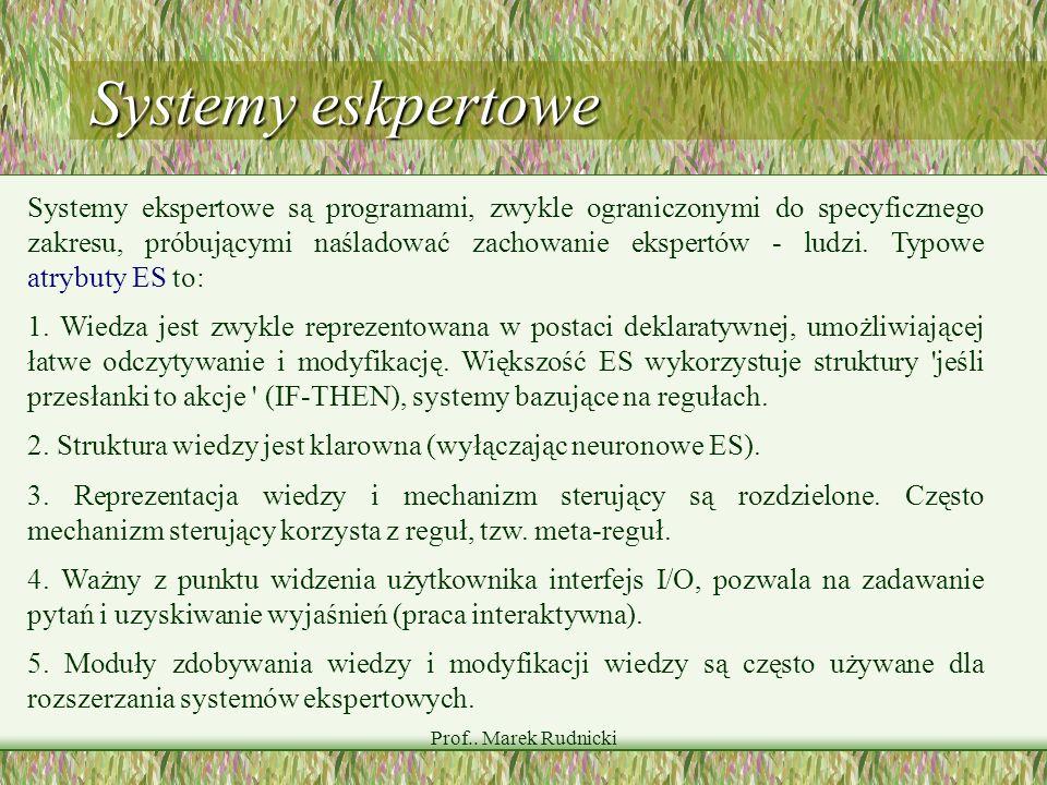 Prof.. Marek Rudnicki Systemy eskpertowe Systemy ekspertowe są programami, zwykle ograniczonymi do specyficznego zakresu, próbującymi naśladować zacho