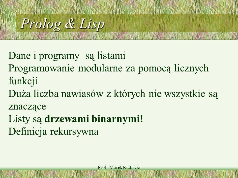 Prof.. Marek Rudnicki Prolog & Lisp Dane i programy są listami Programowanie modularne za pomocą licznych funkcji Duża liczba nawiasów z których nie w