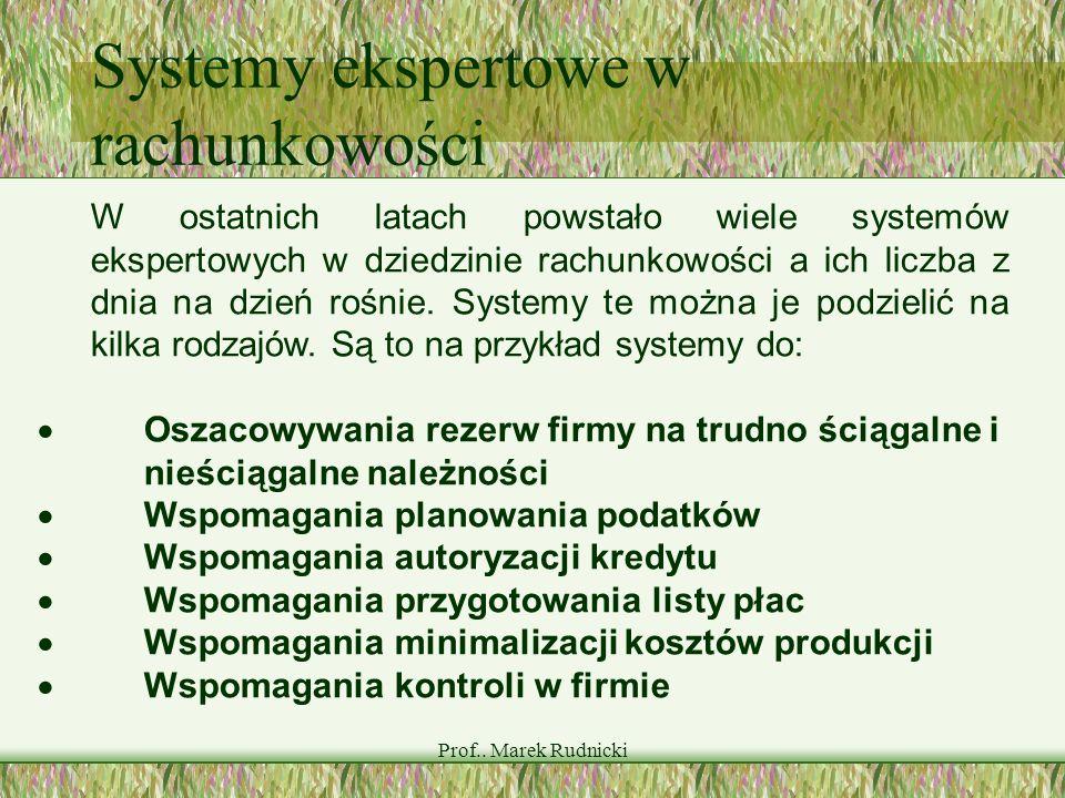 Prof.. Marek Rudnicki Systemy ekspertowe w rachunkowości W ostatnich latach powstało wiele systemów ekspertowych w dziedzinie rachunkowości a ich licz