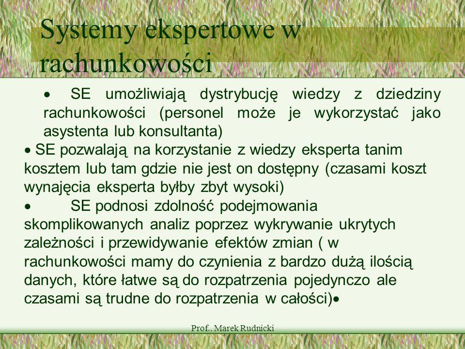 Prof.. Marek Rudnicki Systemy ekspertowe w rachunkowości SE umożliwiają dystrybucję wiedzy z dziedziny rachunkowości (personel może je wykorzystać jak