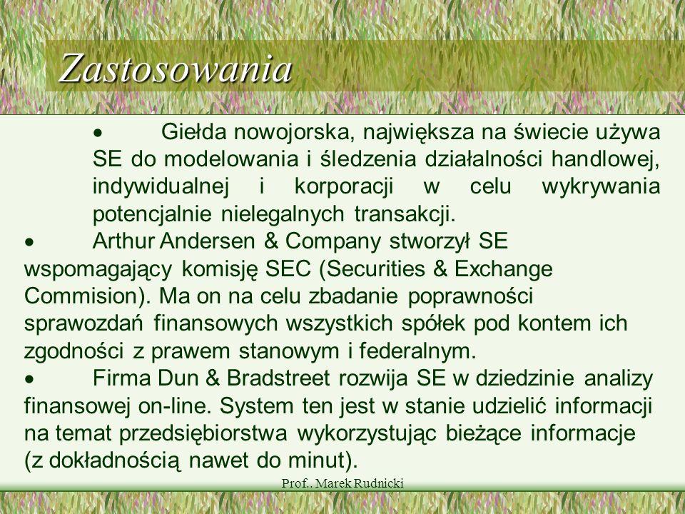 Prof.. Marek Rudnicki Zastosowania Giełda nowojorska, największa na świecie używa SE do modelowania i śledzenia działalności handlowej, indywidualnej